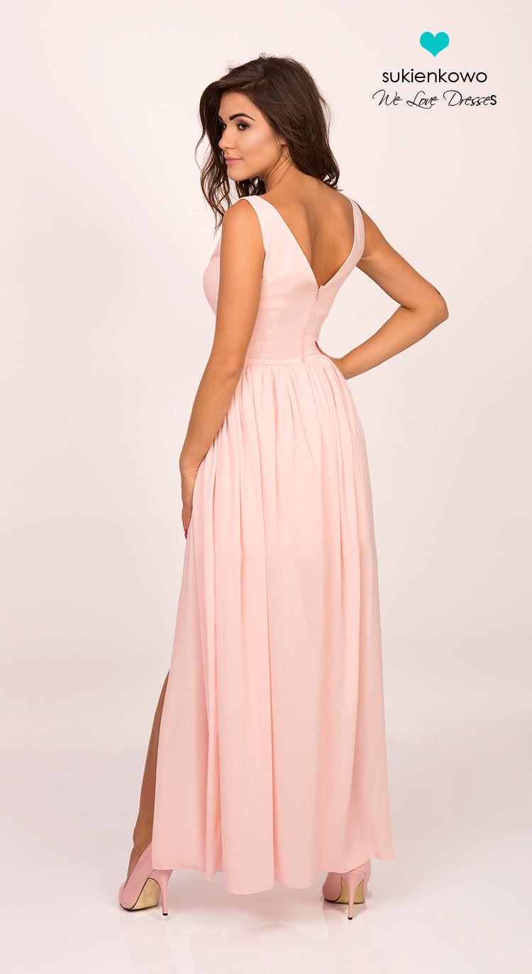 b4abfea5ad SHANNON - Długa sukienka z perłami i rozcięciem różowa