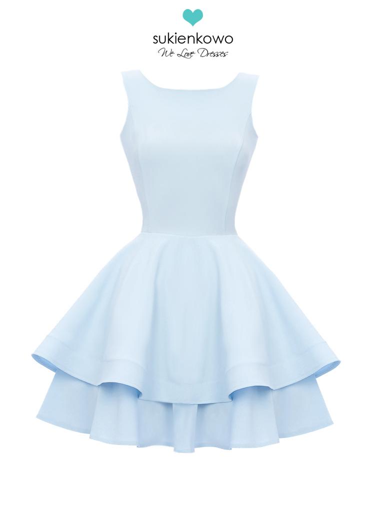 Baby Blue And Grey Bedroom: Podwójnie Rozkloszowana Sukienka BabyBlue