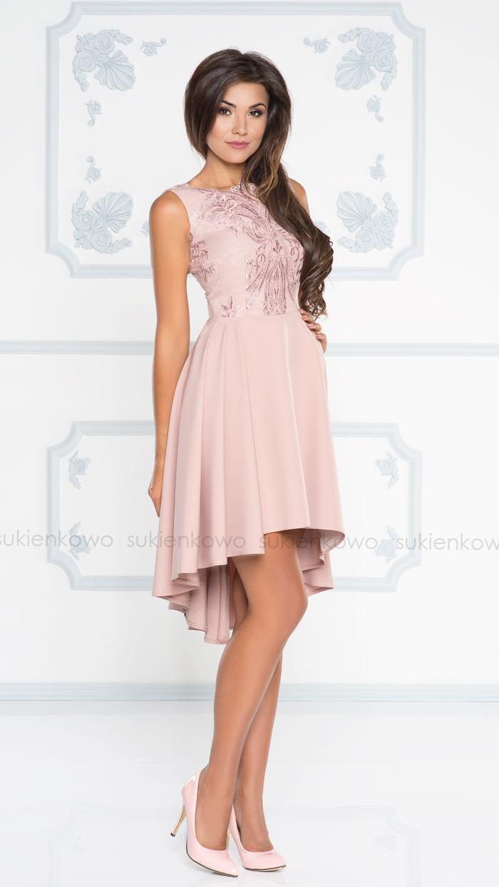 478514d42b HARRIET - Asymetryczna sukienka wizytowa różówa