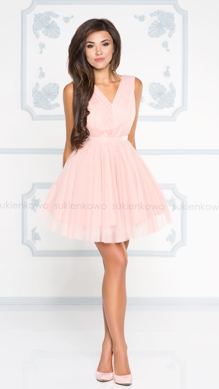 45c9a9ebe0 LAURA - Tiulowa sukienka na impreze light pink