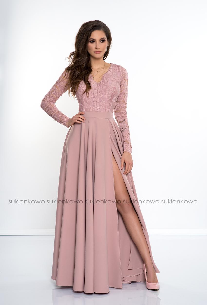 460a519c81 IVANKA - Długa sukienka z koronkową górą i długim rękawem RÓŻOWA