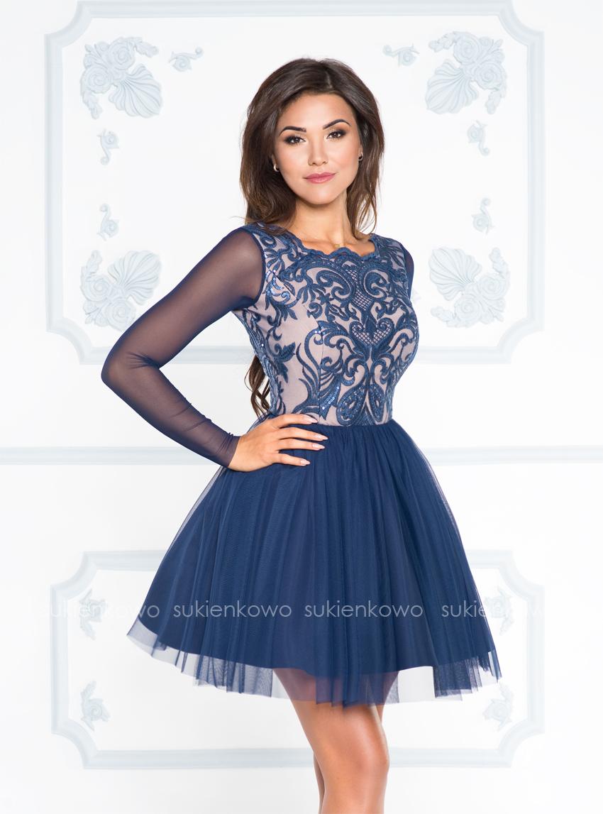 30f2d8d034 KELLY - Rozkoszowana tiulowa sukienka z koronką granatowa
