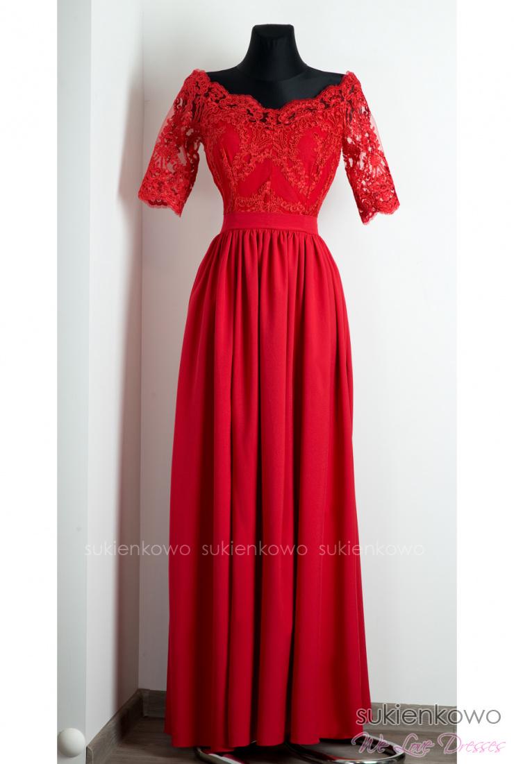 834462fd08 ALISON - Długa sukienka z koronką i rękawem czerwona