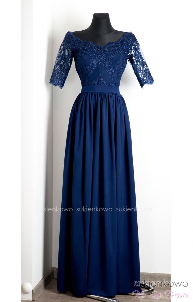 839fb64efd ALISON - Długa sukienka z koronką i rękawem granatowa