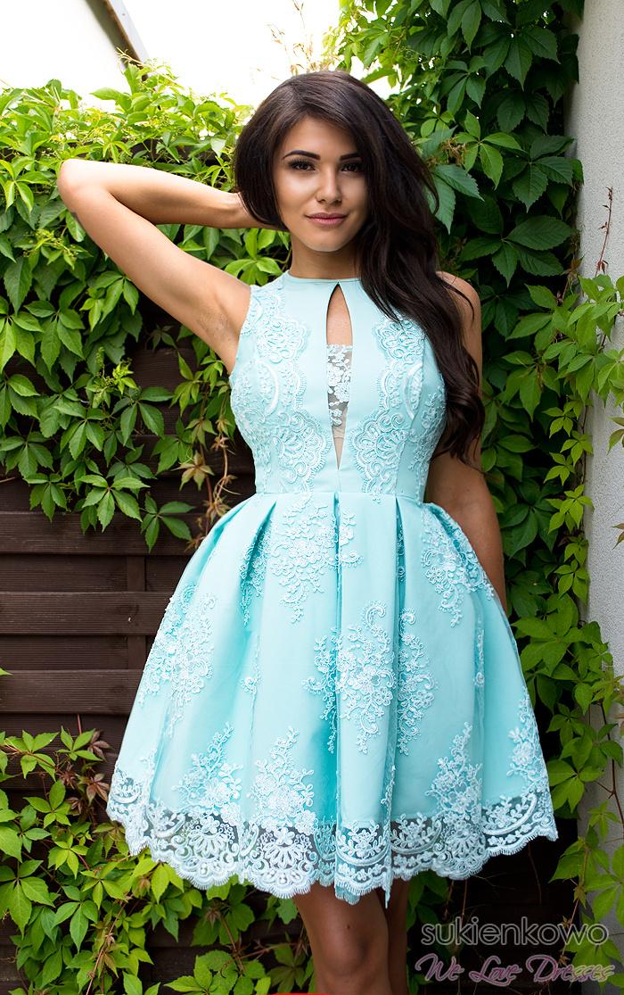 0d5adc7428 ALISS - Koronkowa sukienka miętowa