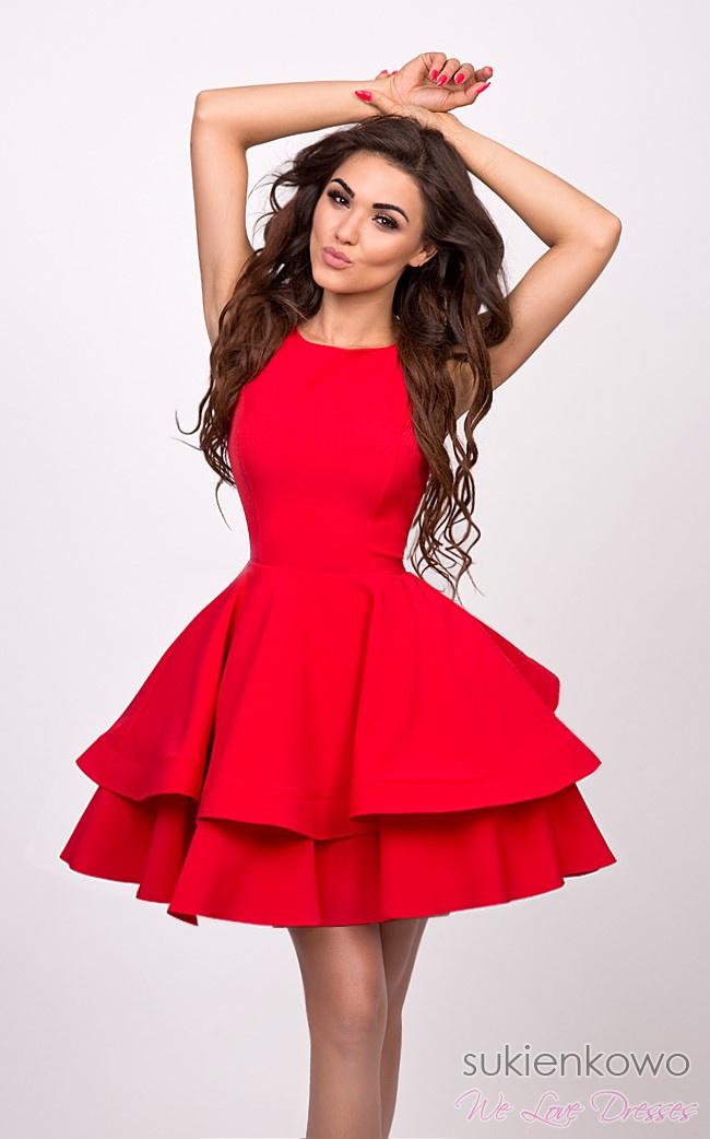 90ef15d38 AUDREY - podwójnie rozkloszowana sukienka czerwona