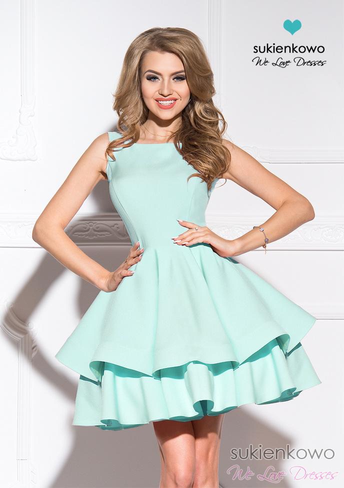 f1eb3f27b9 AUDREY - podwójnie rozkloszowana sukienka miętowa