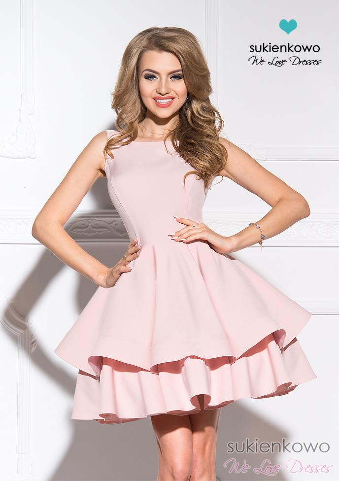 1930862e1 AUDREY - podwójnie rozkloszowana sukienka różowa