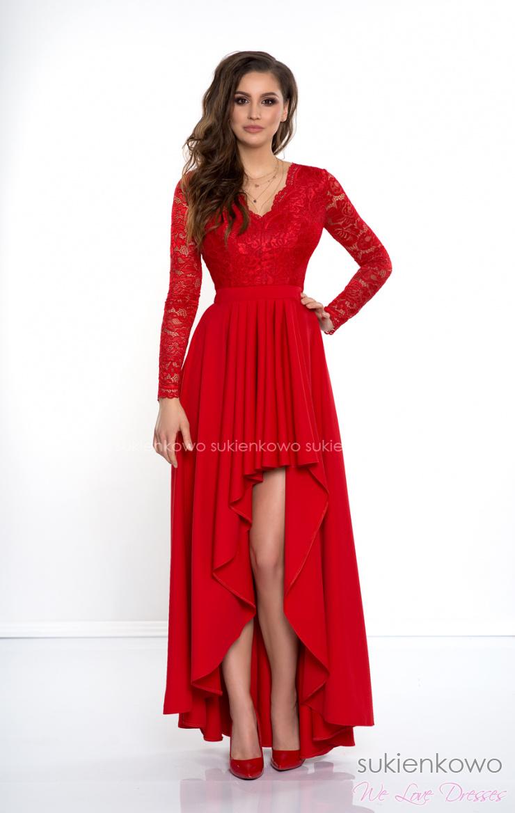 d8eec51f71 AURORA - Długa asymetryczna sukienka z koronką i długim rękawem czerwona