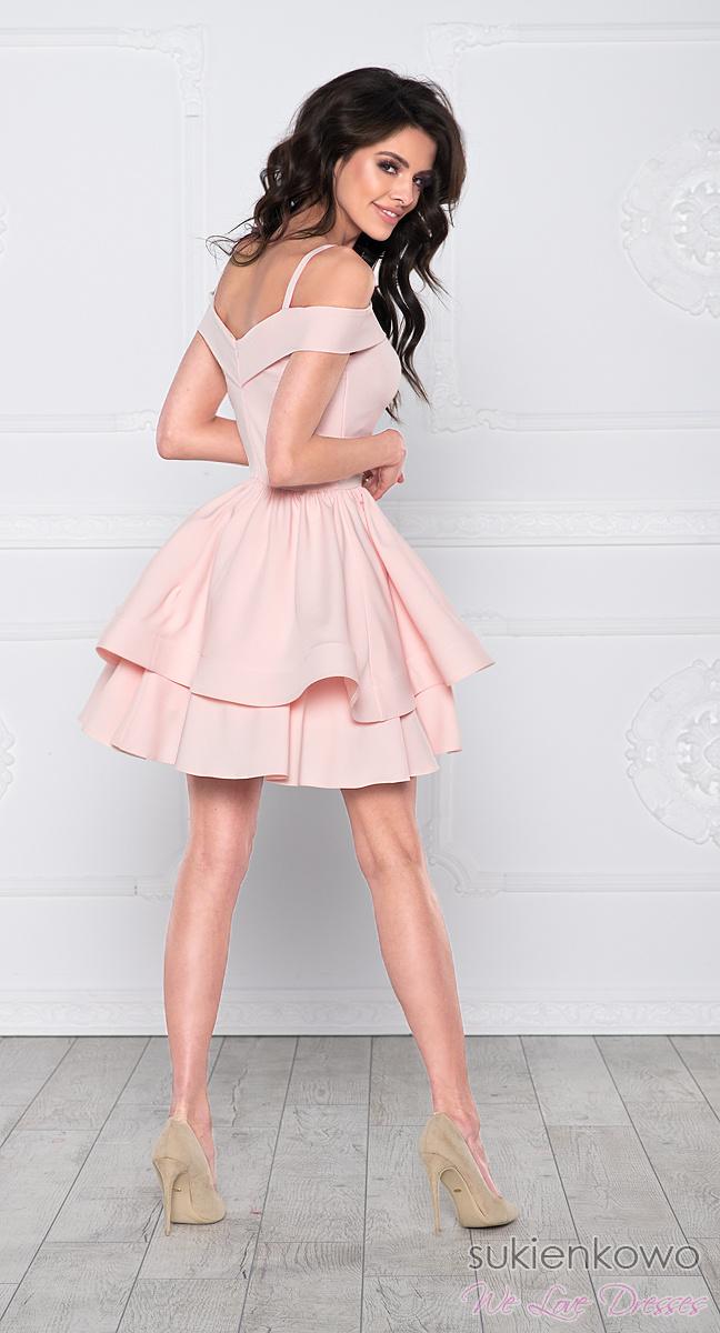 Modish BLANCHE - Podwójnie rozkloszowana sukienka bez ramion różowa LG01
