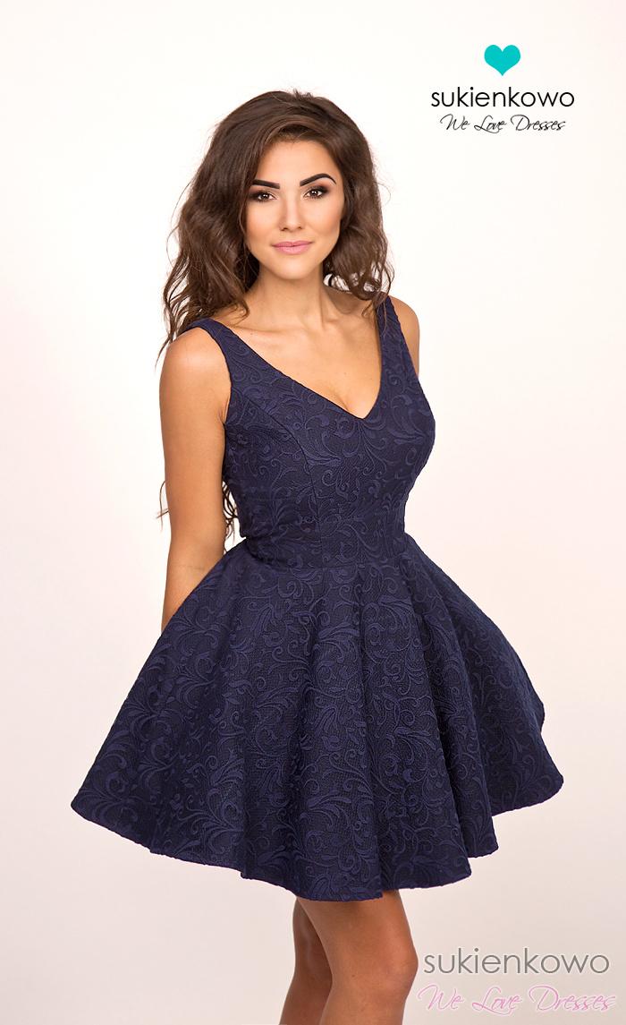4a5d41ada3 CHARLOTTE - rozkloszowana sukienka granatowa