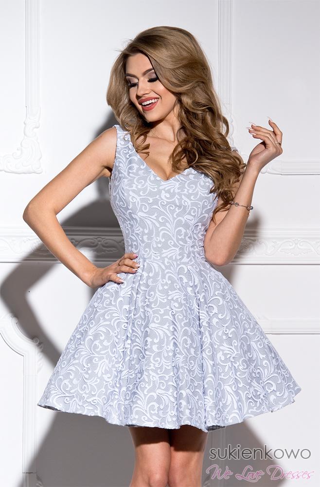 e0409f52b3 CHARLOTTE - rozkloszowana sukienka szaro biała