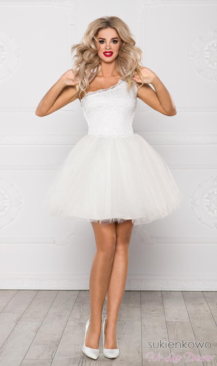 d7a77e57d040 CLEO - Sukienka koronkowo - tiulowa na jedno ramię ecru