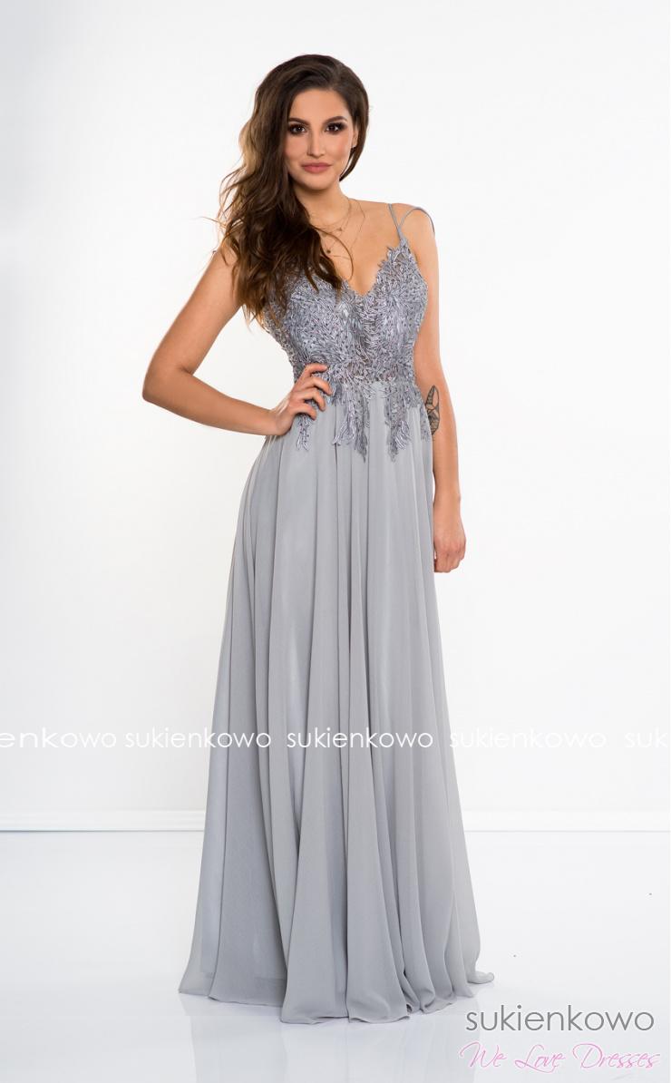 34d21b2c8a DAFNE - Długa sukienka z gipiurą szara