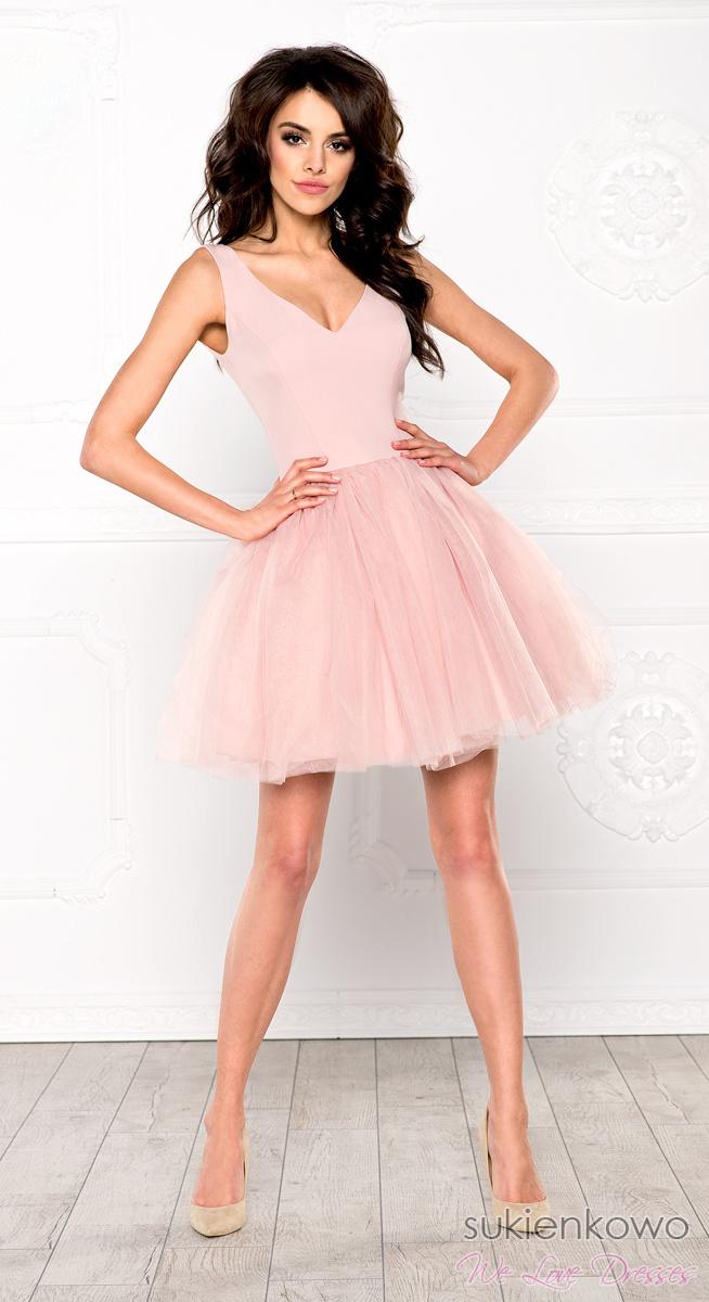 37cef3755 FANNY - Rozkloszowana sukienka z dekoltem różowa