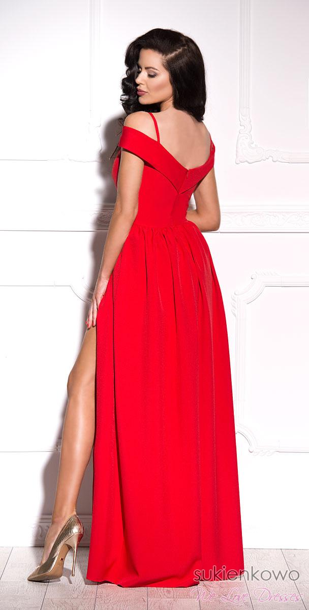 e8575243e7 FEMME - Długa suknia z rozcięciem czerwona