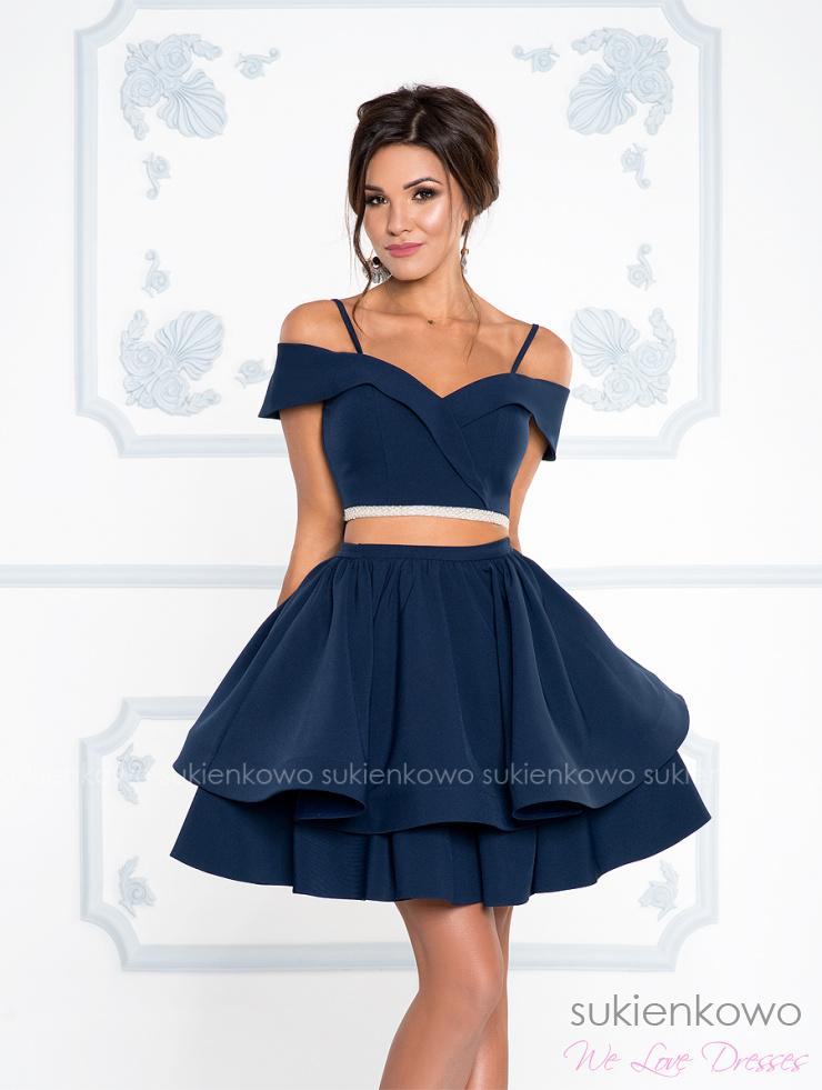 d68b5addf860 GIORGIA - Sukienka komplet bluzka z spódnicą bez brzucha granatowa