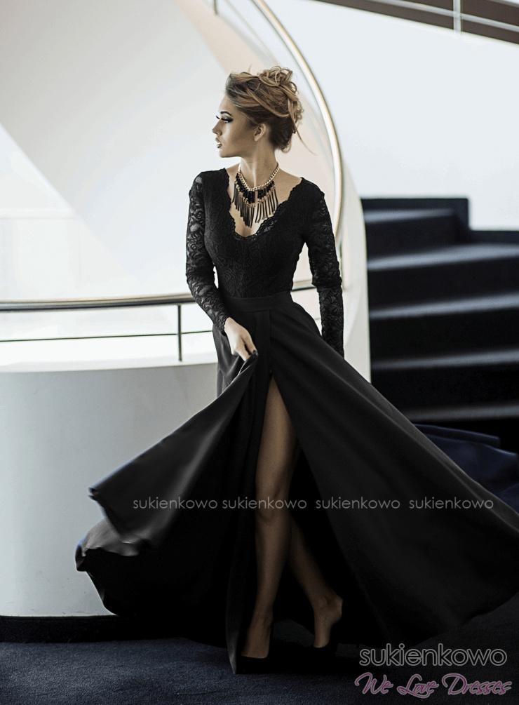 1c61f5ea1b IVANKA - Długa sukienka z koronkową górą i długim rękawem czarna
