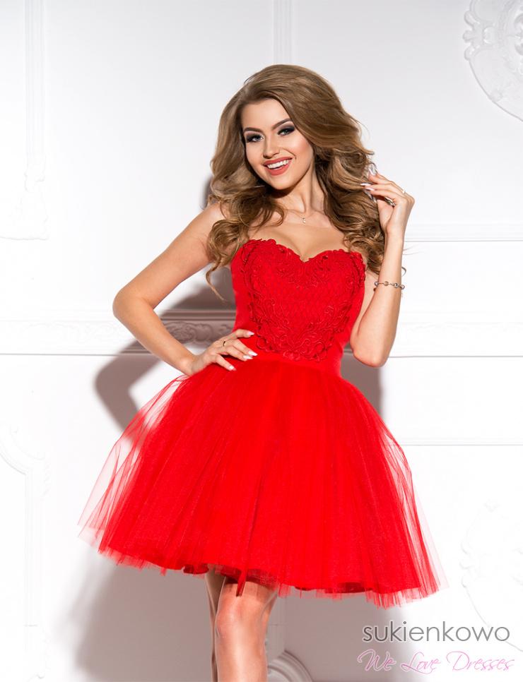 81ee6081b8 JENNIFER - rozkloszowana tiulowa sukienka czerwona