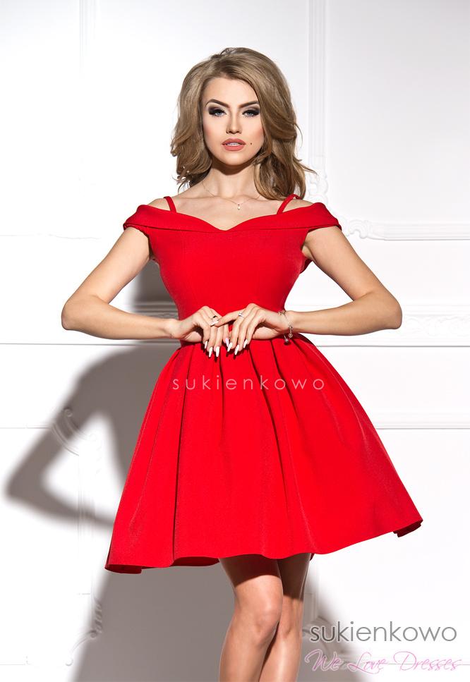 ec4cb9e3ad JULIA - Rozkloszowana sukienka bez ramion czerwona