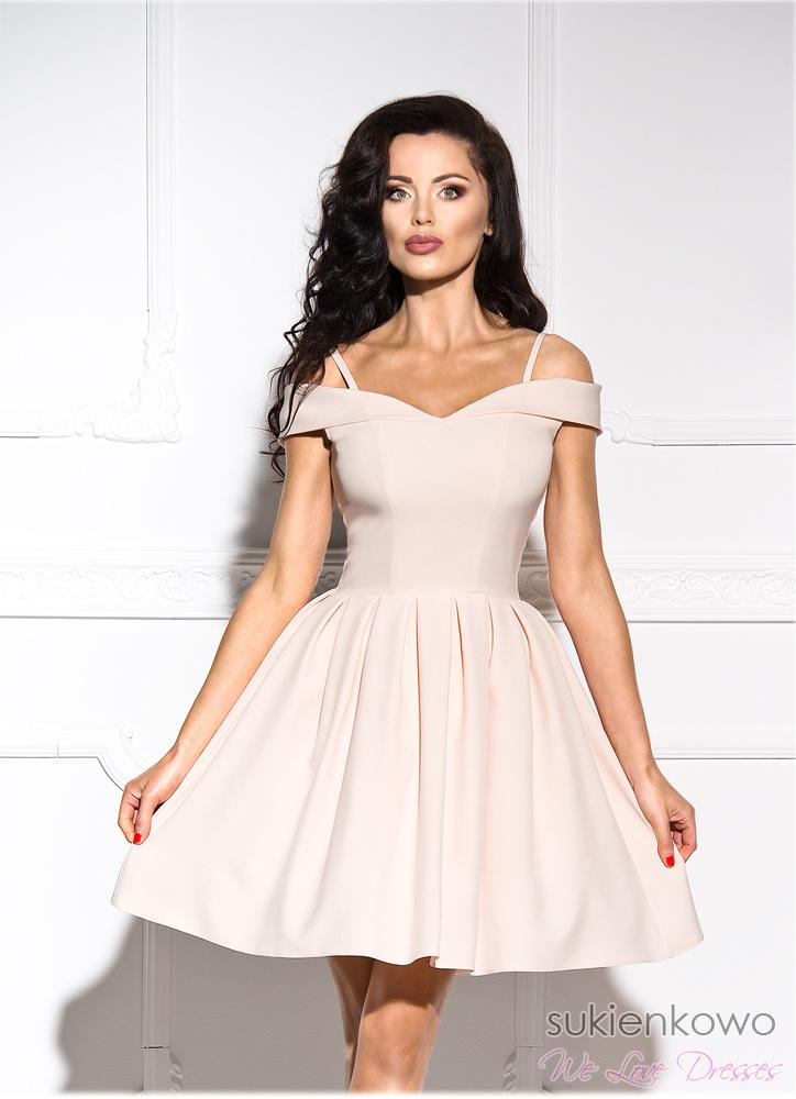 dda83284ce JULIA - Rozkloszowana sukienka bez ramion nude