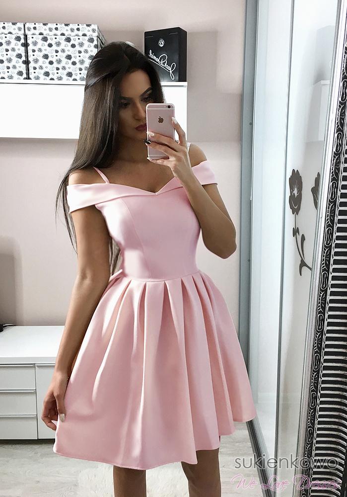 Niesamowite JULIA - Rozkloszowana sukienka bez ramion różowa RV73