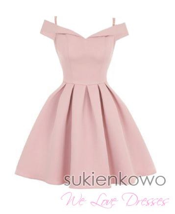 43dc8a748c JULIA - Rozkloszowana sukienka bez ramion różowa