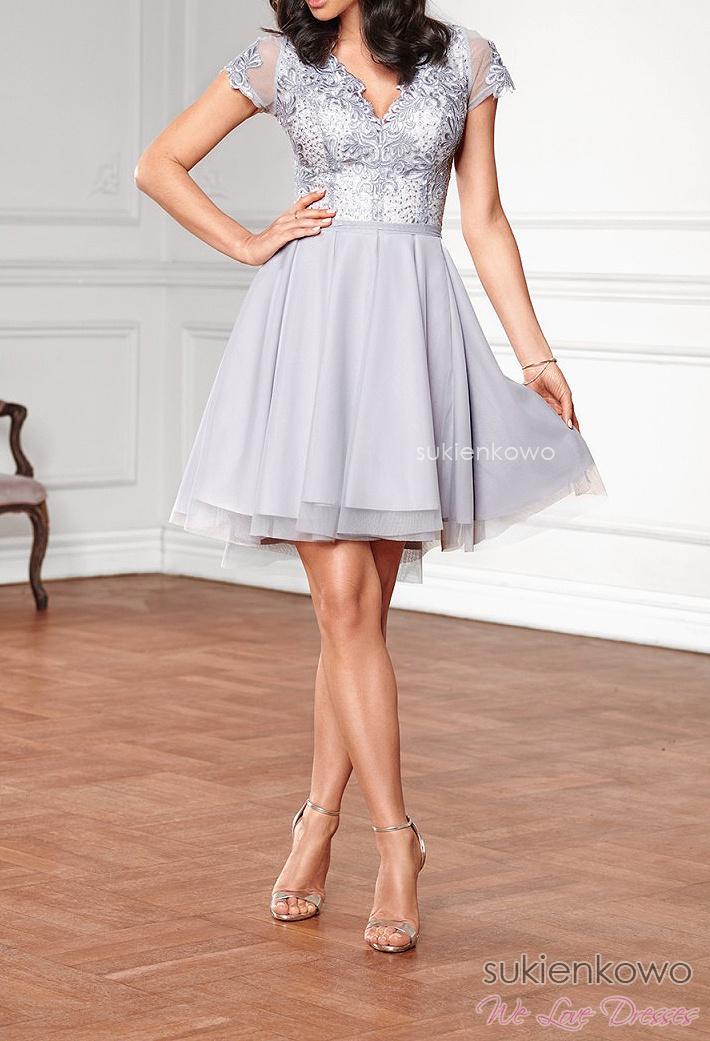 9480add6f7d1c2 KAYA - asymetryczna sukienka z tiulem i koronką szary z ecru
