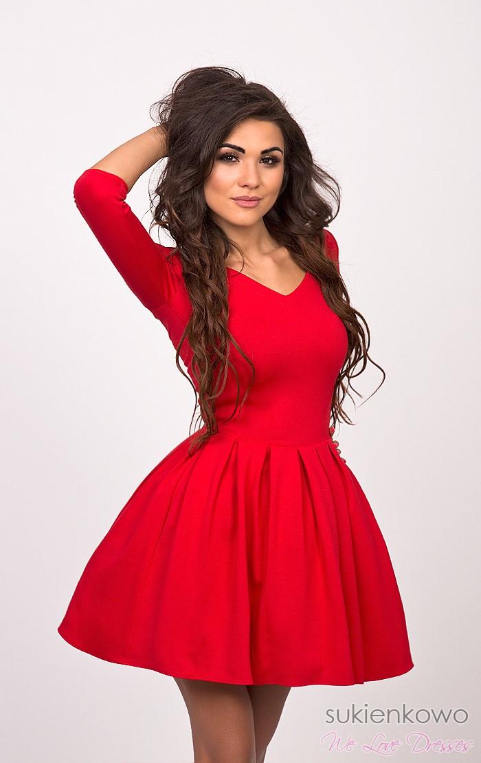 dd2a7ed710cc LISA - sukienka z dekoltem czerwona
