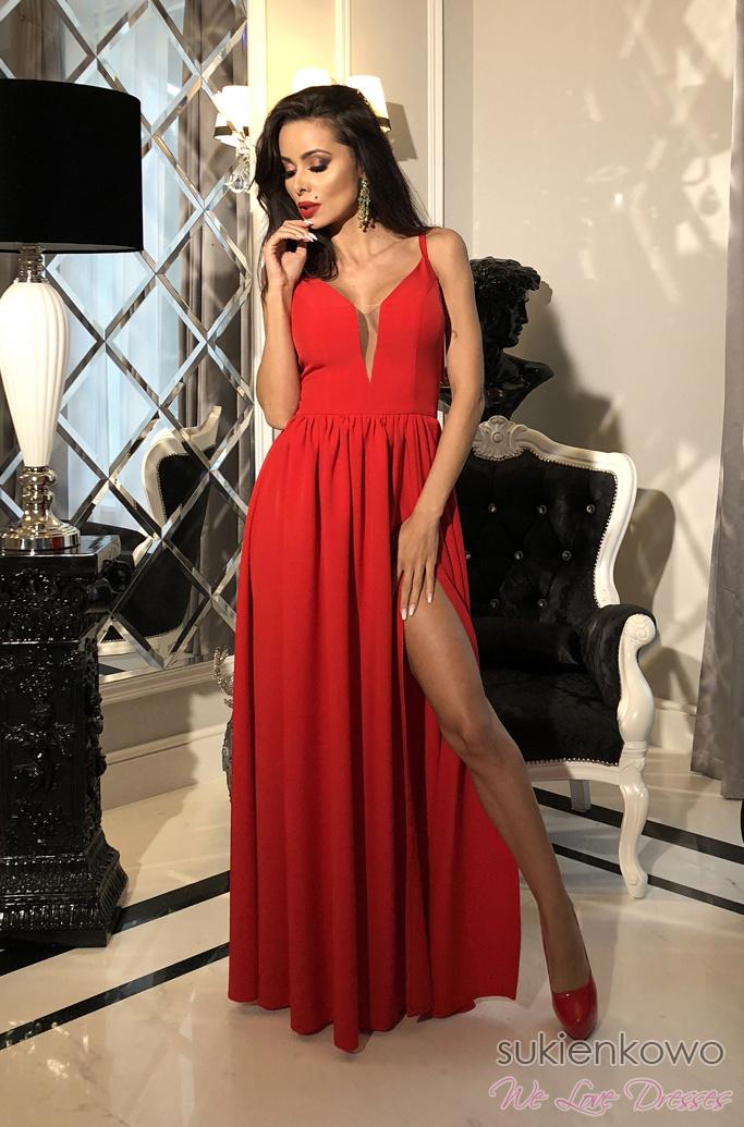 0a0818f591 LIU - Długa sukienka z siateczkowym dekoltem czerwona