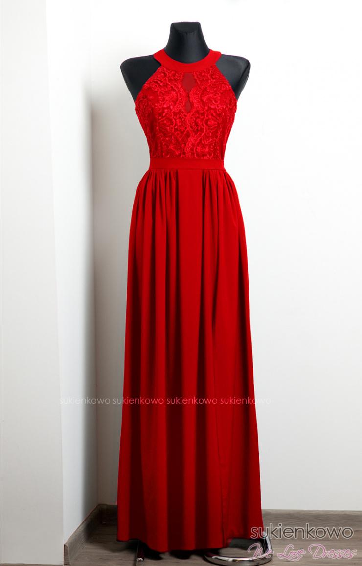 6ba5f83662 NEFRE - długa sukienka z koronką czerwona