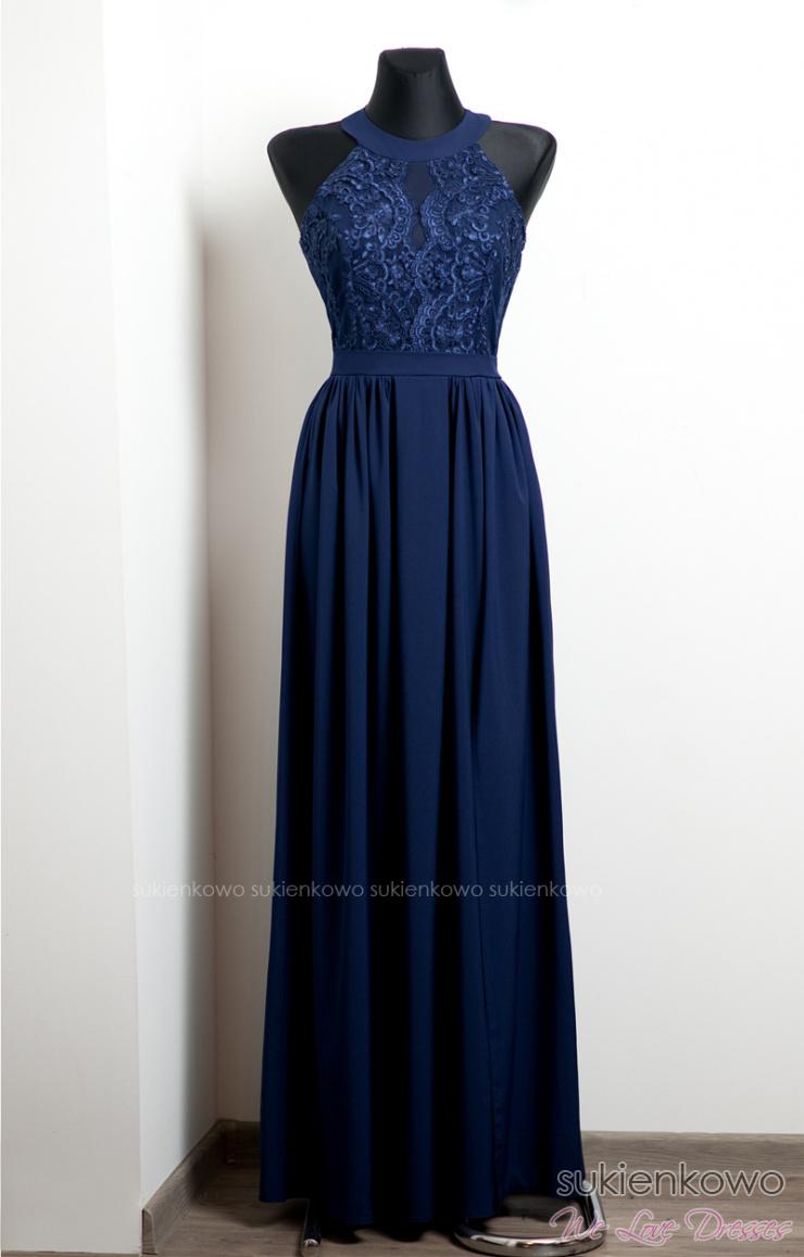 620e8e0590 NEFRE - długa sukienka z koronką granatowa