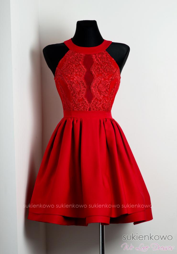 21155ecb1a NELIA - Rozkloszowana sukienka z koronką czerwona