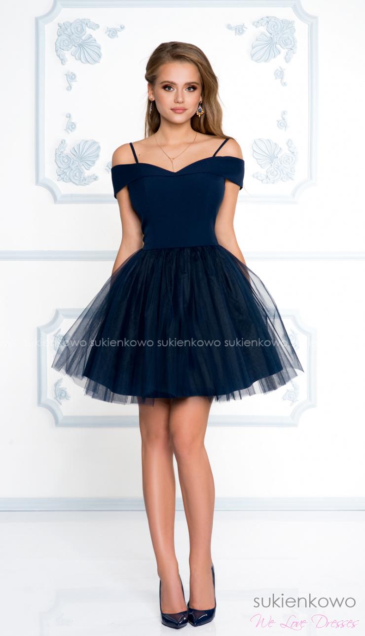 2b506dcf79 SCARLET - Rozkloszowana sukienka bez ramion z tiulem granatowa