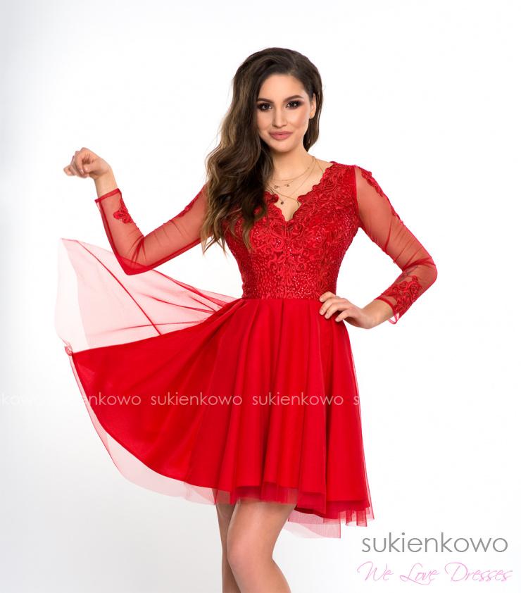 17fd8c0cffb SELENA - asymetryczna sukienka z tiulem i koronką czerwona