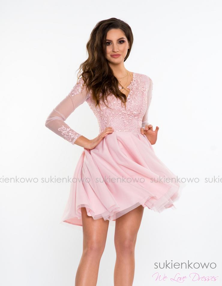 de10ffc2d5 SELENA - asymetryczna sukienka z tiulem i koronką różowa