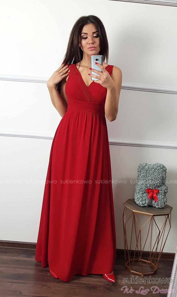 ebfc369846 SENSAI - Długa sukienka z dekoltem czerwona
